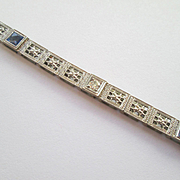 18k Gold and Platinum Line Bracelet - a 1920's Deco Beauty!