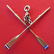 Sculling / Rowing 14K Gold & Enamel Pendant - Crossed Oars
