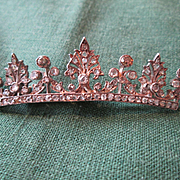 Large Diamond Crown Brooch - Rose Diamonds & Old European Cuts