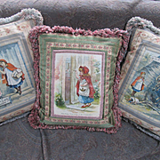 3 Sweet Pillows with Little Red Riding Hood Scenes - Great Quality