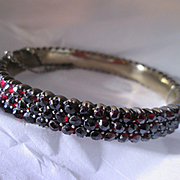 Bohemian Garnet Antique Hinged Bangle - 3 Rows