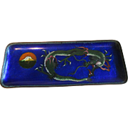 Cloisonne Pen Tray with Dragon and Mt. Fuji