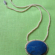 Genuine Lapis and Faux Pearl 1920's Necklace with a 14k Gold Clasp