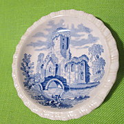Sweet Spode Butter Pat with Christmas Message on the Back - Old Gothic Ruins Scene - Grace Llyod-Collins