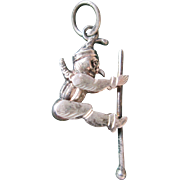 Sterling (935) Silver Punch / Jester Articulated Pendant or Watch Fob - Moving on a Bar - FUN!