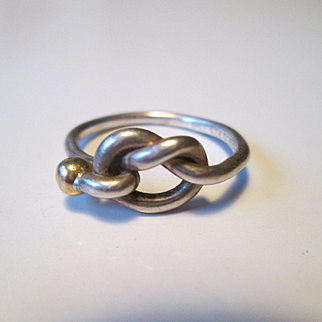 Tiffany & Co.  Love Knot Ring  Sterling Silver & 18k Gold  Size 8 - Classic!