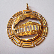 14K Gold Greek Charm - Acropolis and Greek Key Design
