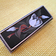 Pietra Dura Silver Set Brooch with Tulips - so beautiful!