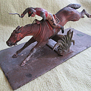 Vienna Bronze Cold Painted Race Horse and Jockey Letter Clip - Great!!