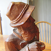 Black Forest Wood Carved - Man Smoking a Pipe