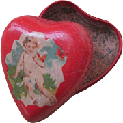 Small Heart German Dresden Candy Box with Cupid - Paper Mache - So Sweet!