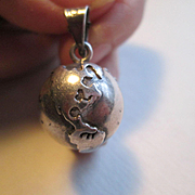 Sterling Globe Charm - Nice Detail - Rings Too!