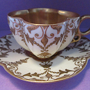 Miniature Jeweled COALPORT Quatrefoil Porcelain Cup & Saucer  Antique Circa 1885