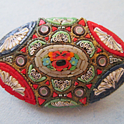 LARGE Italian Micro Mosaic Pin - Mid Century