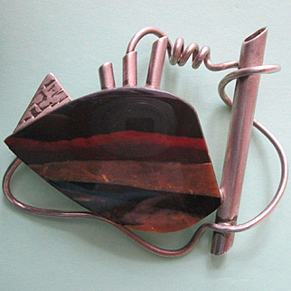 Large Sterling Modernist Pin with Rainbow Jasper