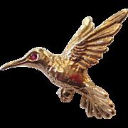 Sweet Little 14K Gold Humming Bird Pin with Ruby Eye