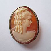 Lovely Lady Shell Cameo - 800 Silver Gilt - Pendant or Pin