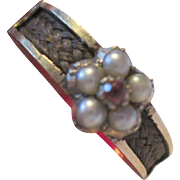 Early Victorian Forget Me Not Mourning Ring - Pearl / Ruby / 15ct Gold with Hair