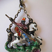 "Austro-Hungarian Antique Silver and Polychromed Enamel Pendant - ""St. George and the Dragon"" with Fresh Water Pearl"
