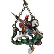 """Austro-Hungarian Antique Silver and Polychromed Enamel Pendant - """"St. George and the Dragon"""" with Fresh Water Pearl"""