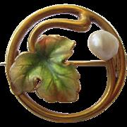 Charming Little Art Nouveau 14K Enamel Pin - Leaf with a Pearl