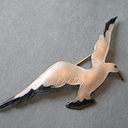 "Extra Large Seagull Enamel on Silver - 3 1/4"" Long"