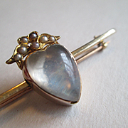 Bar Pin - Heart Shaped Moonstone with Pearls in 15ct Gold - Heart Dated 1891
