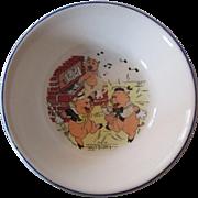 "Walt Disney's  ""Three Little Pigs""  Child's Bowl - Patriot China 1930's"