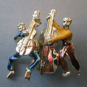 1950's Enamel Trembler Pin with Musicians - Guitar and Bass Players - Fun!