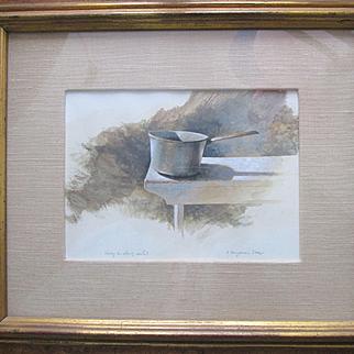 "R. Benjamin Jones - Still Life Painting - Acrylic on Paper - ""Study in Shiny Metal"" - Maryland Artist"