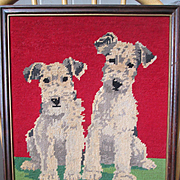 "Terrier Pals - Framed Needlepoint - 16 1/2"" by 13 1/4"""