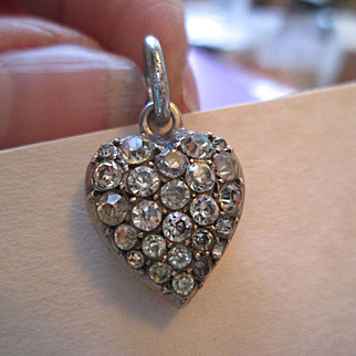 Beautiful Pave Paste and Silver Heart Pendant Circa 1890
