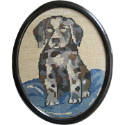 Sweet Puppy Needlepoint in Original Early Oval Frame - Circa 1920's / 1930's