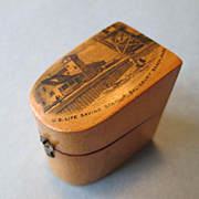 Mauchline Ware Thimble Case with Scene From U.S. Life Saving Station, Salisbury Beach, Mass. - Circa 1910