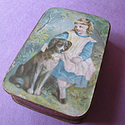 Small Victorian Candy Box - Girl and Dog - Sweet!