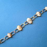 Pretty Italian Shell Cameo Bracelet Set in 800 Silver