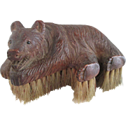 Black Forest Carved Wooden Bear Clothes Brush