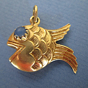 14k Gold Mid Century Fish Charm with Blue Eyes and Puffy Body!