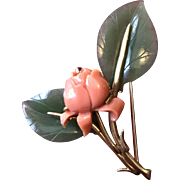Lovely Carved Coral Rose Pin with Jade Leaves - Set in 14K Gold - 1960's