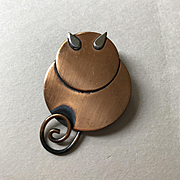 Modernist Copper Cat Pin - Mid Century Fun