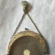 Exquisite Black, Starr & Frost Sterling Vermeil Mesh Purse with Chatelaine Hook