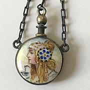 Small Wearable Perfume Bottle with Enamel Portrait of a Lady- Chatelaine Item