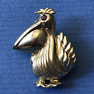 14K Gold Pelican Pin with Ruby Eye
