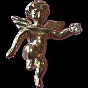 Sweet 14K Gold and Diamond Cherub Pin - Valentine!!