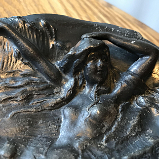 Art Nouveau Tray with Lady Swimming in the Nude - Signed  Riceszinn