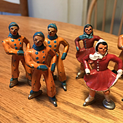 8 Great Vintage Hand Painted Lead Skaters  - Fun Group of Toy Figures!