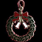 Christmas Wreath 14K Gold Charm with Enamel - Mid Century -Nice!