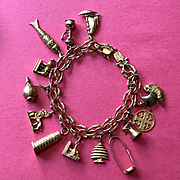 18K Gold Charm Bracelet World Travel Theme - Heavy, Fine, and Fun!!