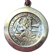 """14K Gold St. Christopher Medal - """"Look At Me And Be Safe"""""""
