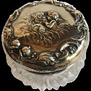 "Unger Brothers ""Love's Dream"" Dresser Jar - 3 1/2"" Diameter With Very Rare Original Powder Puff - 1903"